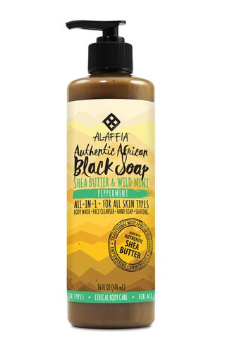 Authentic African Black Soap - Peppermint - 476ml - Alaffia - Health & Body Nutrition