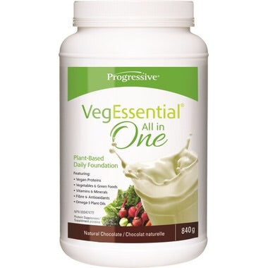 VegEssential All-In-One Protein Natural Chocolate - 840g - Progressive - Health & Body Nutrition