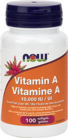 Vitamin A - 10,000IU - 100gels - Now - Health & Body Nutrition