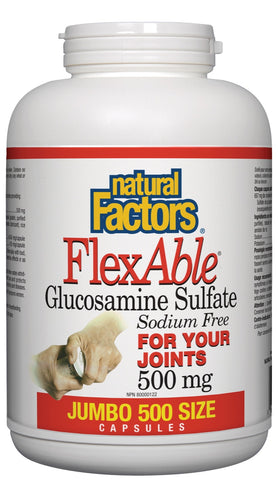 FlexAble Glucosamine Sulfate 500mg - 500caps - Natural factors - Health & Body Nutrition