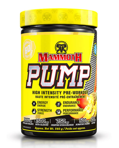 Mammoth Pump Pre-Workout - Pineapple Mango 540g - Mammoth Mass - Health & Body Nutrition