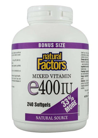 Vitamin E 400 IU - 240gels - Natural factors - Health & Body Nutrition