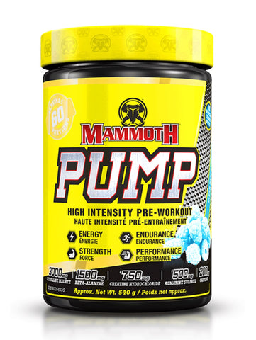 Mammoth Pump Pre-Workout - Blue Raspberry 540g - Mammoth Mass - Health & Body Nutrition