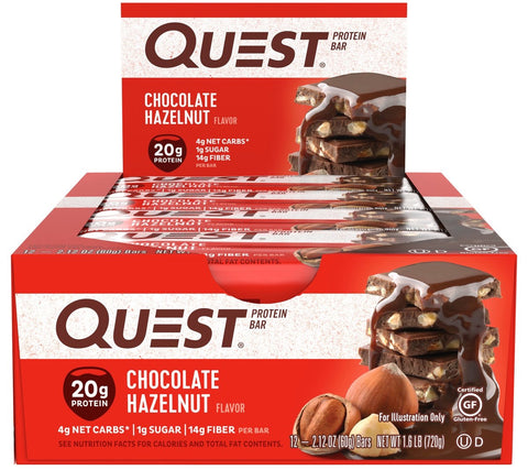 Quest Protein Bars Chocolate Hazelnut - Box of 12 Bars - Health & Body Nutrition