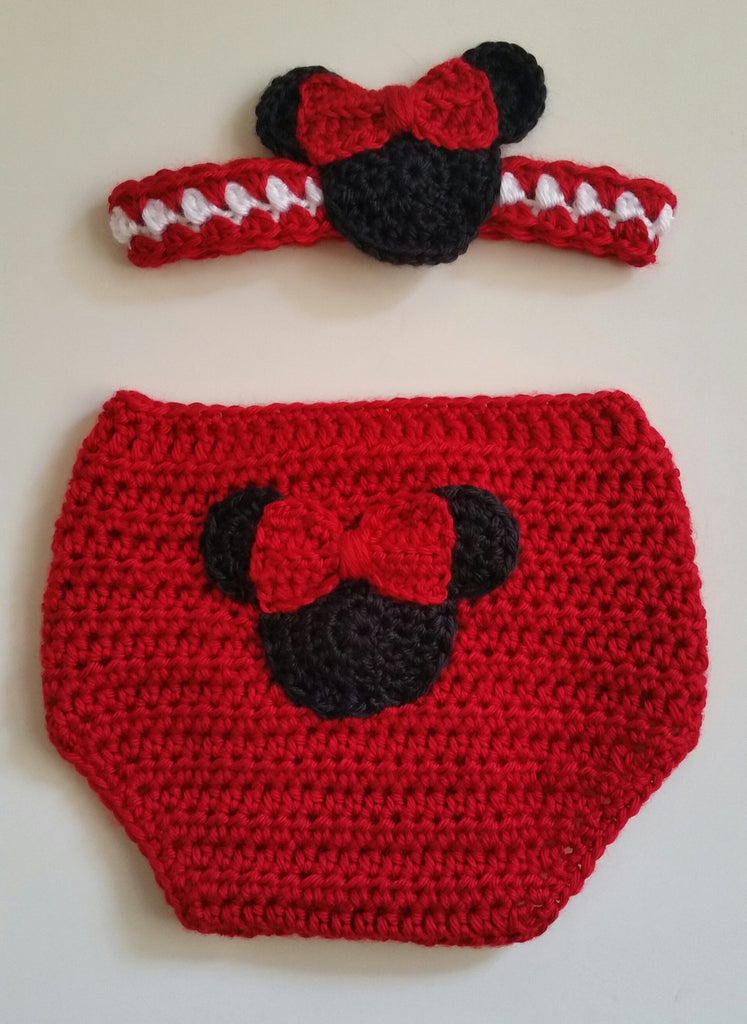 Gift Set Girl Mouse Diaper Cover Headband Red 12 Mos Natomis