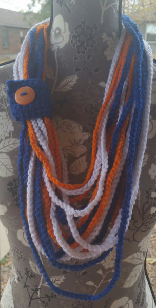 Denver Bronco Inspired Chain Link Scarf With Royal Blue Tab Closure