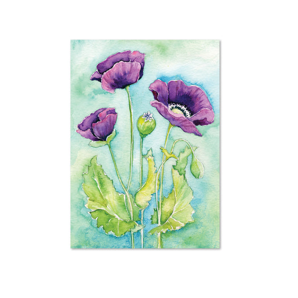 Purple Poppy Original Painting