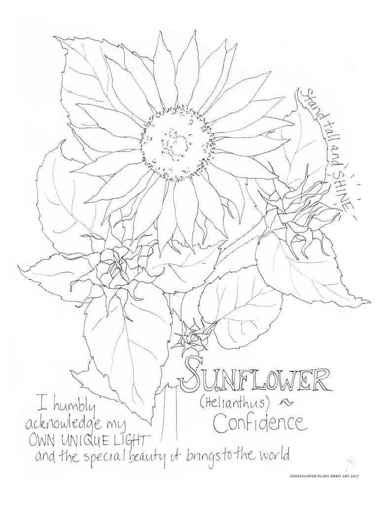 Sunflower (Confidence) Coloring Page