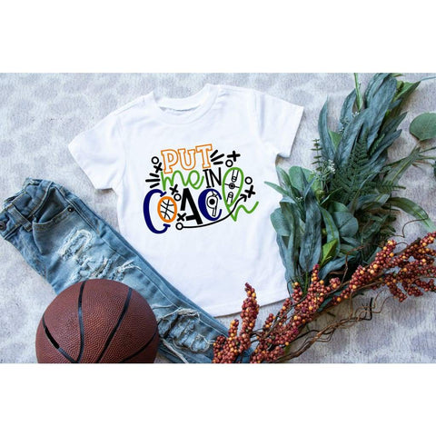 Basketball Put Me In Coach Kids Sports Shirt - Simply Crafty