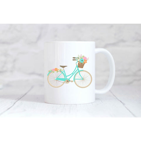 Blue Floral Bike Coffee Mug - Simply Crafty