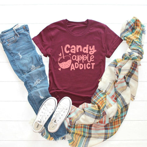 Candy Apple Addict Halloween Mom Shirt - Simply Crafty