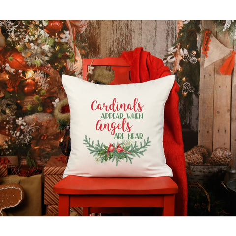 Christmas Cardinal Personalized Grief Gift Throw Pillow - pillow