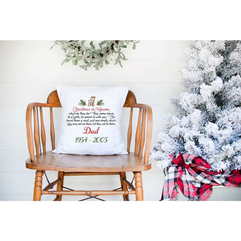 Christmas in Heaven Personalized Grief Gift Throw Pillow - Simply Crafty