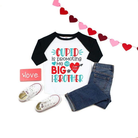 Cupid is Promoting Me to Big Brother Sister Kids Valentine's Day Shirt - Simply Crafty