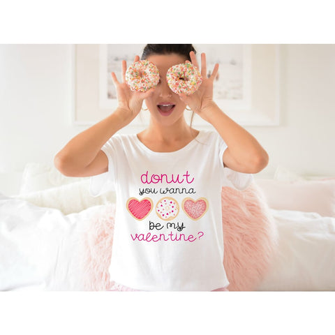 Donut You Want to Be My Valentine Ladies Valentines Day Shirt - Shirts
