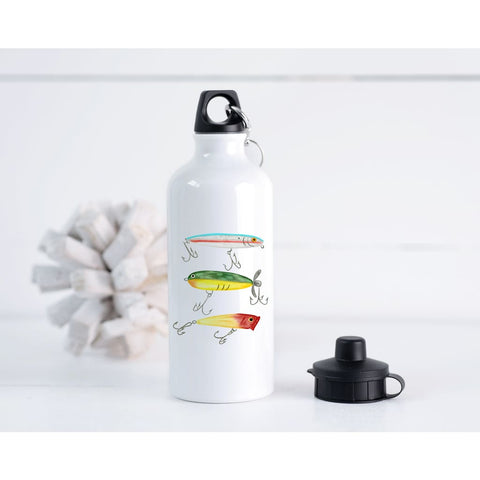 Father's Day Fishing Lure Dad Gift 20 oz Metal Water Bottle - Simply Crafty