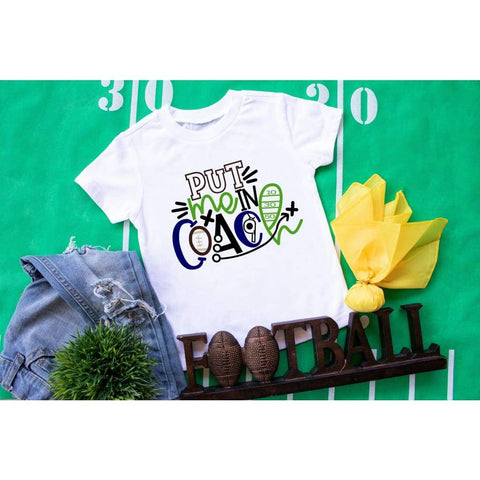 Football Put Me In Coach Kids Sports Shirt - Simply Crafty