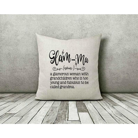 Glamma Grandma Funny Gift Throw Pillow - Simply Crafty