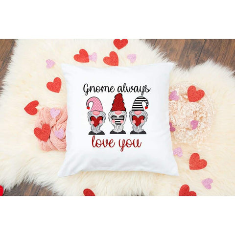 Gnome Always Love You Valentine's Day Gift Throw Pillow - Simply Crafty