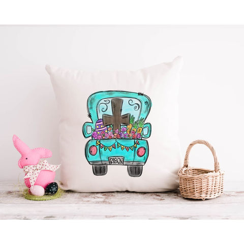 He Is Risen Religious Christian Happy Easter Throw Pillow - Simply Crafty