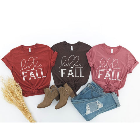 Hello Fall Autumn Ladies Shirt - Simply Crafty