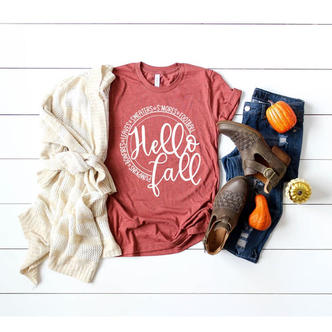 Hello Fall Favorite Things Autumn Ladies Shirt - Simply Crafty