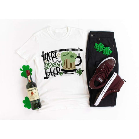Here for the Green Beer Mens Drinking St Patrick's Day Shirt - Simply Crafty
