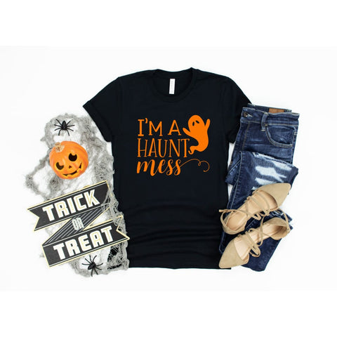 I Am a Haunt Mess Ghost Funny Halloween Shirt - Simply Crafty