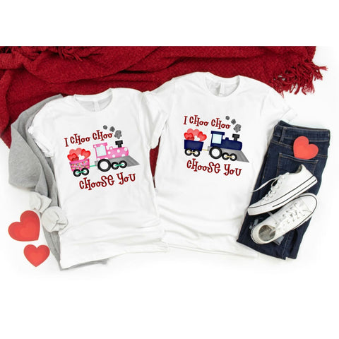 I Choose You Train Kids Funny Valentine's Day Shirt - Simply Crafty
