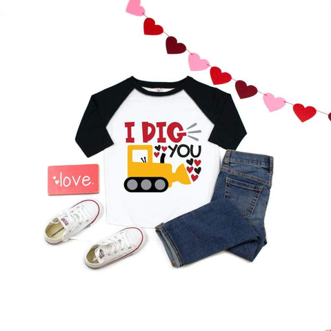 I Dig You Construction Boys Valentine's Day Shirt - Simply Crafty