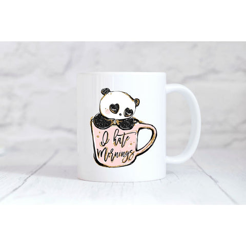 I Hate Mornings Panda Cup Coffee Mug - Mugs