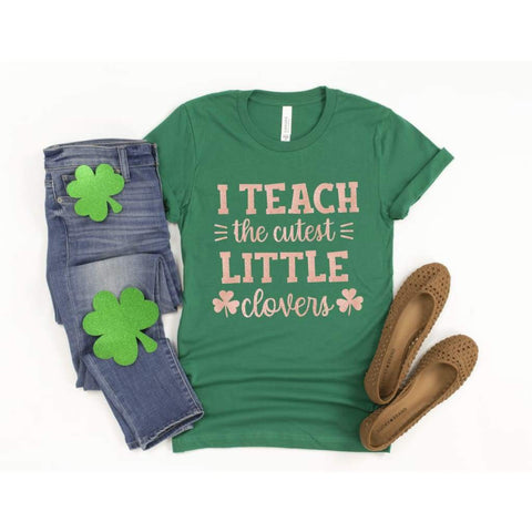 I Teach the Cutest Clovers Teacher St Patrick's Day Shirt - Simply Crafty