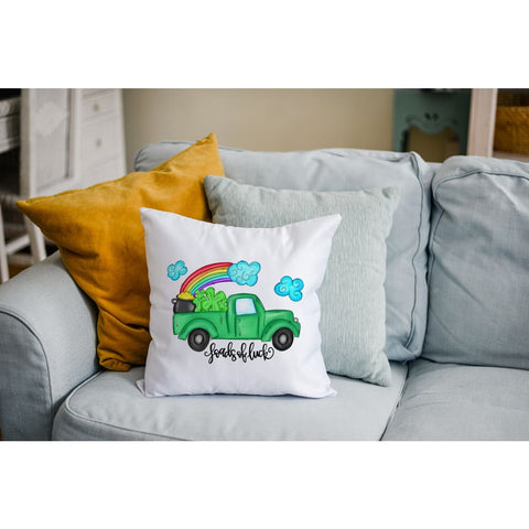 Loads of Luck St Patricks Day Truck Rainbow Throw Pillow - Simply Crafty