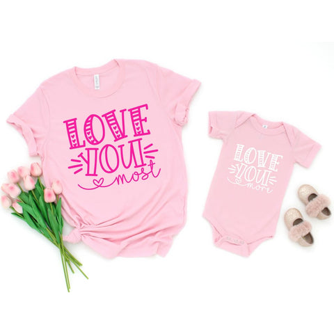 Love You More Mommy and Me Valentine's Day Shirt - Simply Crafty