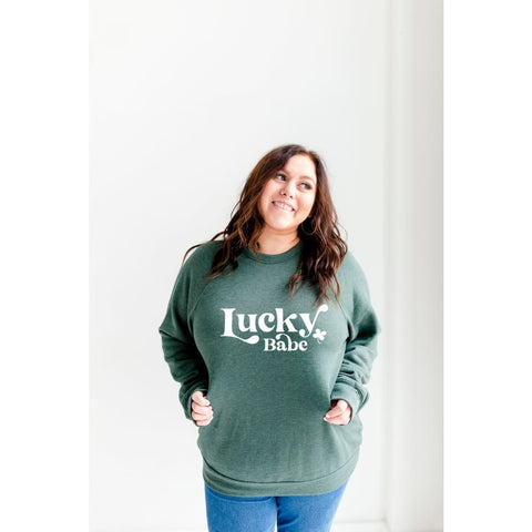 Lucky Babe Clover St Patricks Day Pullover Bella Canvas Crew Sweatshirt - Simply Crafty