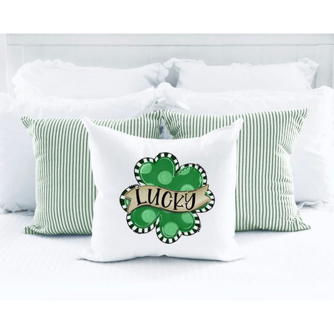 Lucky Clover St Patricks Day Throw Pillow - Simply Crafty