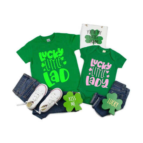 Lucky Little Lady Lad Kids Sibling St Patrick's Day Shirt - Simply Crafty