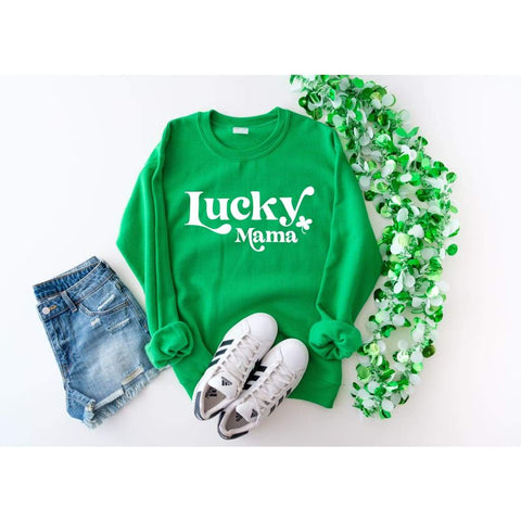 Lucky Mama St Patricks Day Pullover Gildan Crew Sweatshirt - Simply Crafty