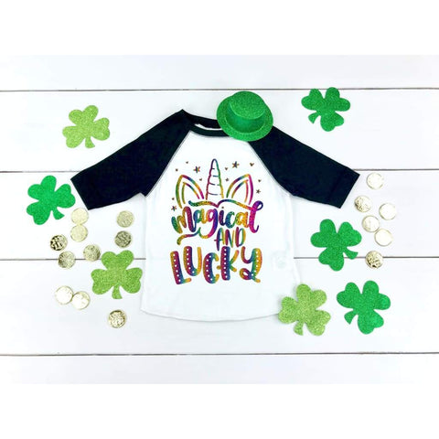 Magical and Lucky Unicorn Girls St Patrick's Day Shirt - Simply Crafty