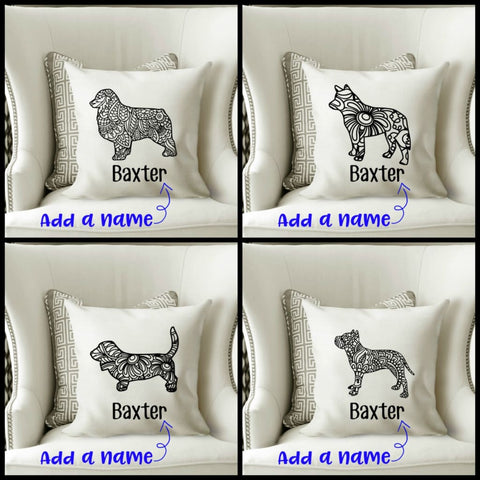 Mandala Dog Breed Personalized Pet Gift Throw Pillow - Simply Crafty