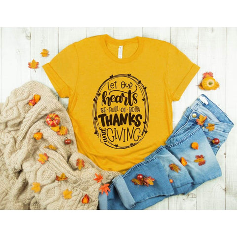May Your Hearts Be Full Thanksgiving Womens Shirt - Simply Crafty