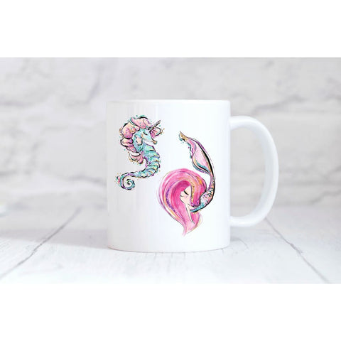 Mermaid Girl and Seahorse Friend Coffee Mug - Mugs