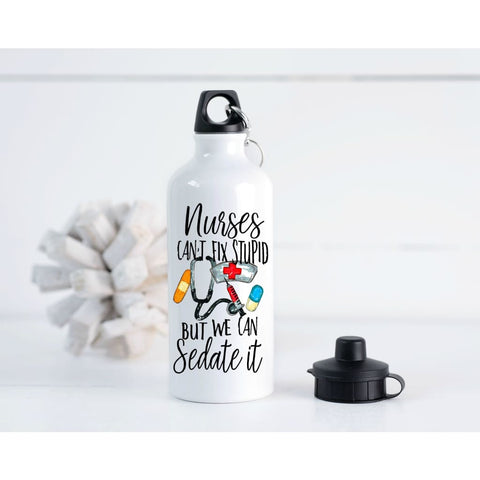Nurse Funny Sedate It 20 oz Metal Water Bottle - Simply Crafty