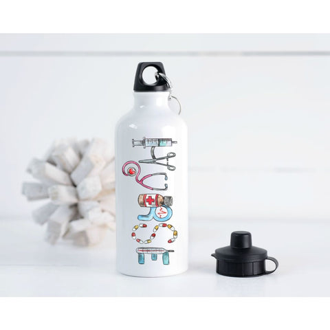 Nurse Hand Drawn 20 oz Metal Water Bottle - Simply Crafty