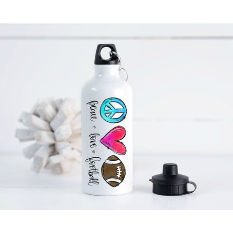 Peace Love Sports Gift Gym Bottle 20 oz Aluminum Water Bottle - Simply Crafty