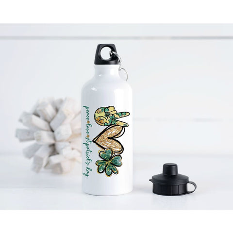 Peace Love St Patricks Day 20 oz Metal Water Bottle - Water Bottle