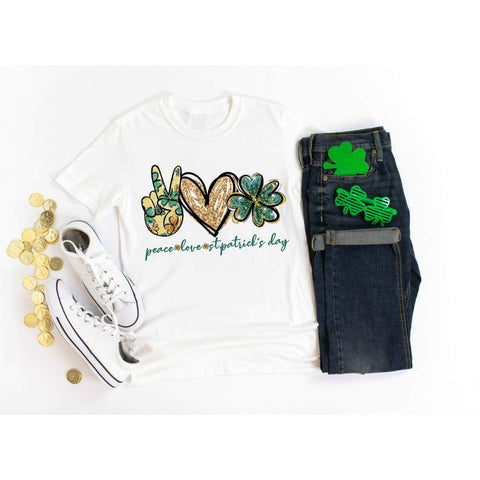 Peace Love St Patrick's Day Shirt - Simply Crafty