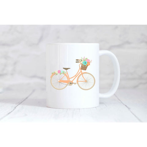 Peach Floral Bike Coffee Mug - Mugs