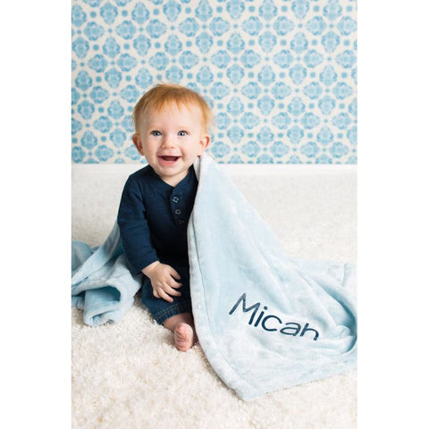 Personalized Blue Plush Baby Blanket - Simply Crafty