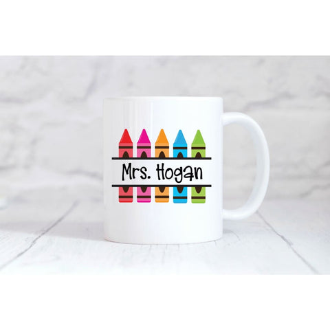 Personalized Crayon Teacher Coffee Mug - Mugs